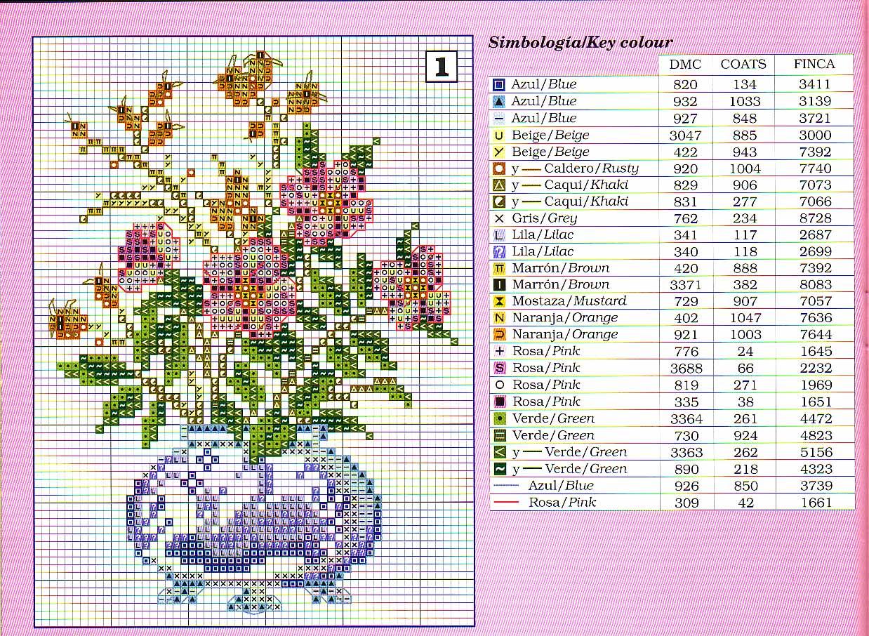 Вышивки крестом цветы в вазе схема 86