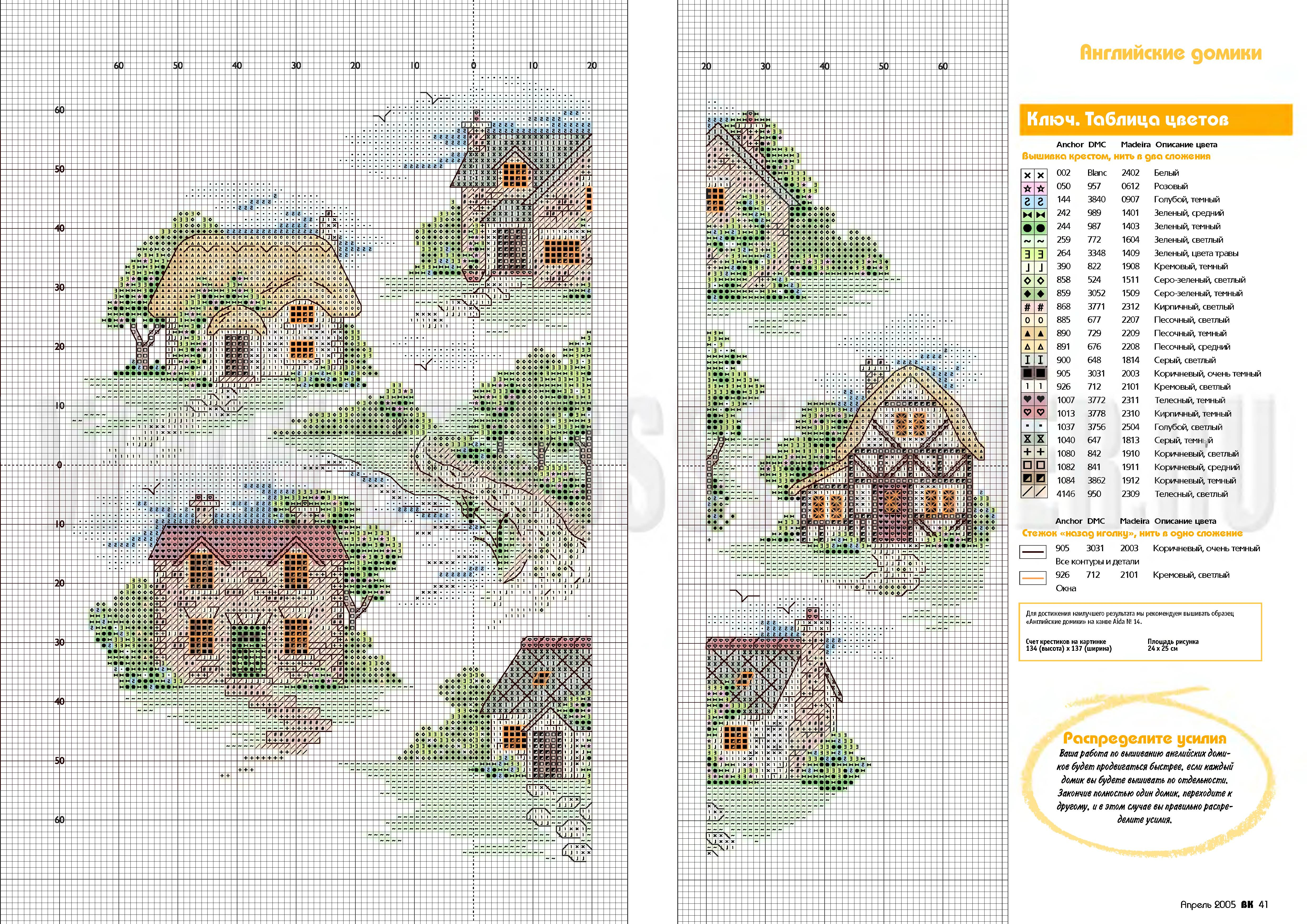 Схема для вышивки крестом с домиком 525