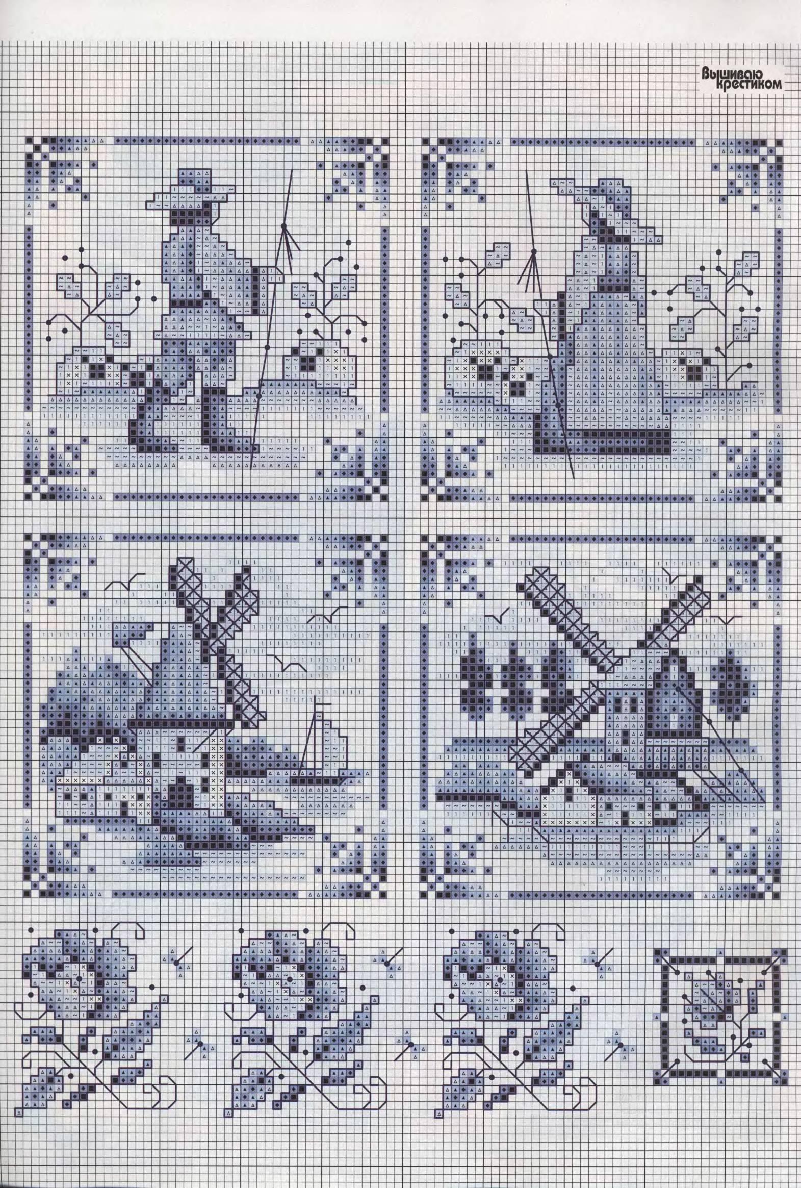 Схемы вышивки крестом миниатюры монохром 28